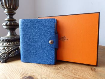 Hermés Ulysse TPM Mini Notebook Cover & Insert in Bleu Mykonos Clemence -  New*