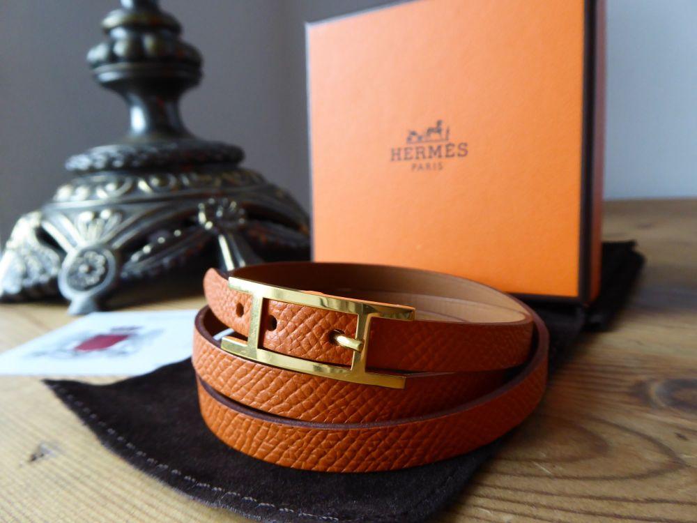 Hermès Behapi 3 Triple Tour Wrap Bracelet in Orange Epsom and Tan with Gold