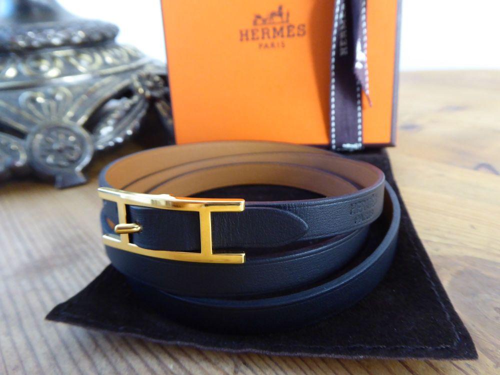 Hermès Hermes Behapi 3 Triple Tour Wrap Bracelet in Noir Swift with Gold Ha