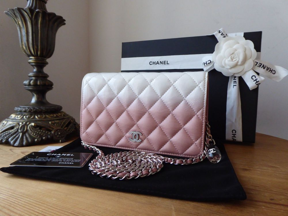 Chanel Crystal Drop Wallet on Chain WoC in Pink Ombre Calfskin Patent - New