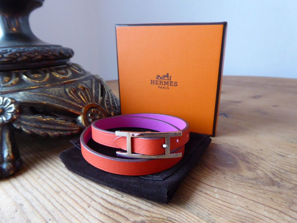 Hermès Behapi 2 Double Tour Wrap Bracelet in Cappucine Magnolia Swift with