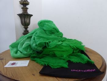 Louis Vuitton Limited Edition 'Infinity' Stole Chale Scarf in Ombre Neon Green 100% Wool