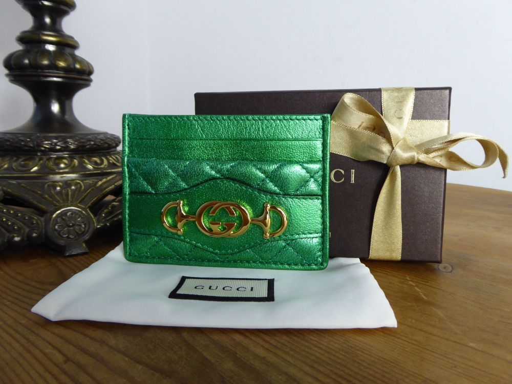 Gucci Zumi Trapuntata Card Slip Case Holder in Emerald Metallic Calfskin -