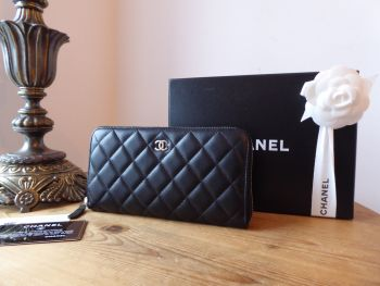 Chanel Classic Zip Around Continental Purse Wallet in Black Lambskin with Silver Hardware