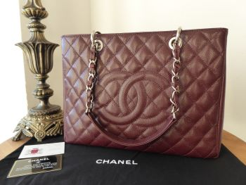 Chanel Grand Shopping Tote GST in Burgundy Caviar with Silver Hardware