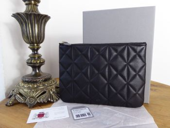 Mulberry Cara Delevingne Zip Pouch in Black Quilted Nappa