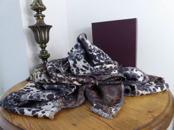 Mulberry Reversible Inky Animal Print Large Square 100% Silk Scarf Wrap