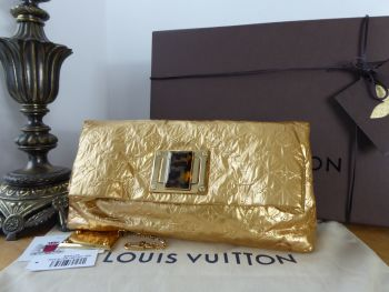 Louis Vuitton Limited Edition Altair Pochette Clutch in Monogram Jacquard Quilted Metallic Gold Limelight