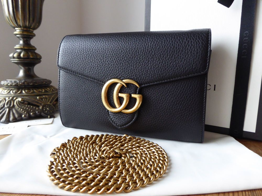 Gucci GG Marmont Wallet on Chain Clutch in Black Textured Calfskin