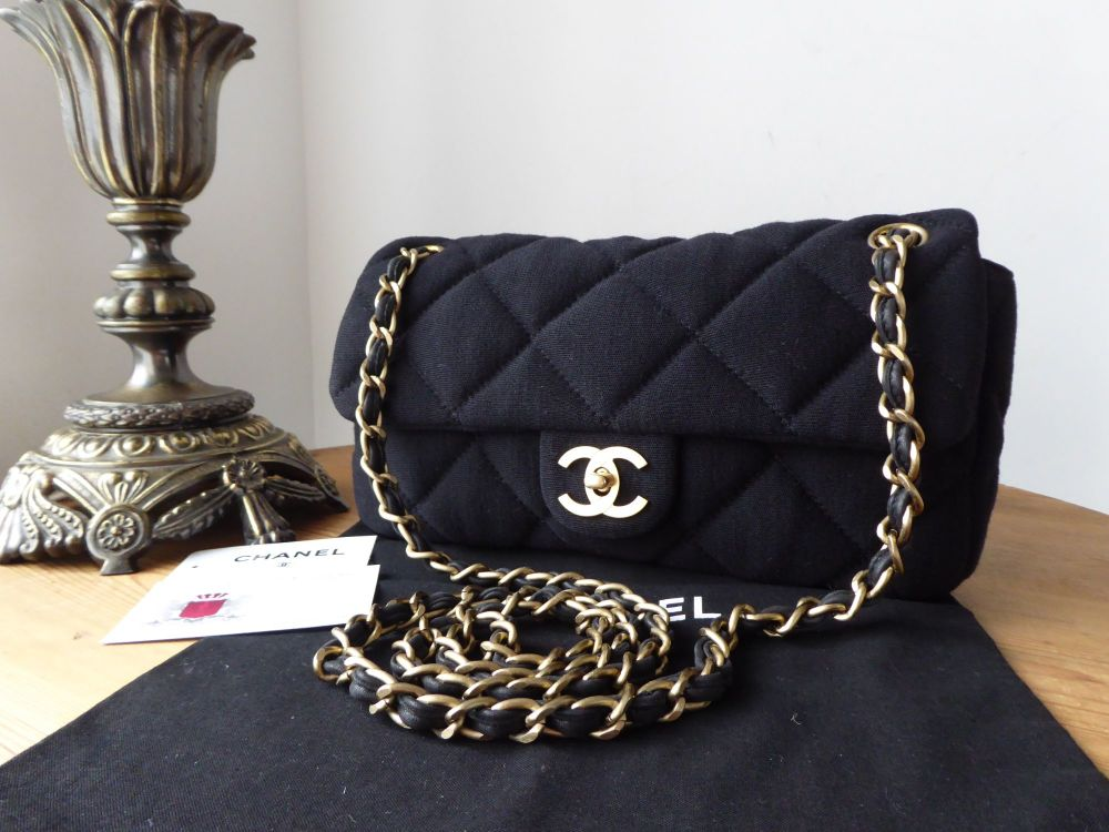 Chanel Coco Soft Small Flap in Black Jersey with Brushed Gold Hardware