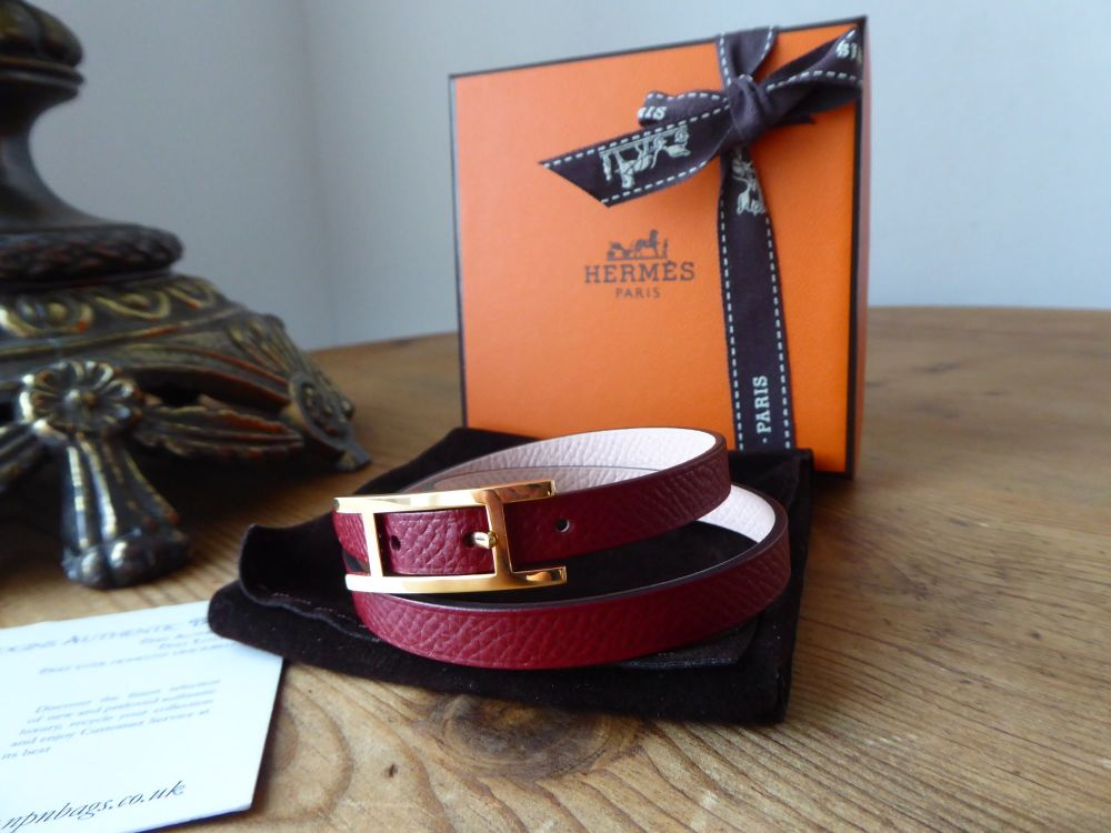 Hermès Behapi 2 Double Tour Wrap Bracelet in Rouge Grenat Epsom and Rose Eg