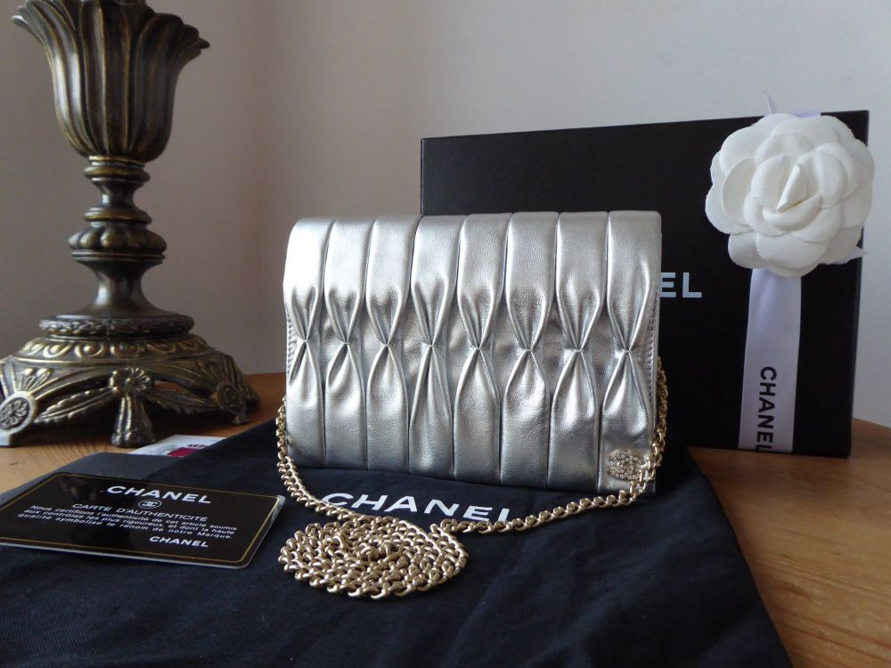 Chanel Small Crystal CC Wallet on Chain WoC Clutch in Silver Metallic Pleat