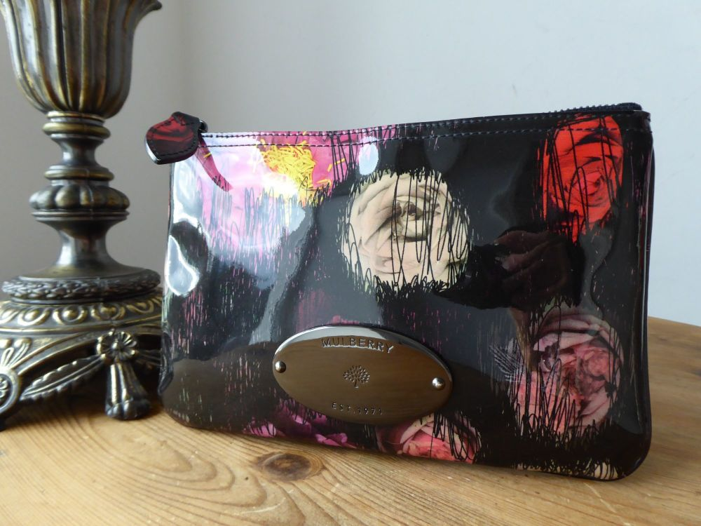 Mulberry Zip Pouch in Scribbly Floral Multi Flora Patent Leather