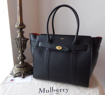 Mulberry Large Zipped Bayswater in Black Small Classic Grain - As New
