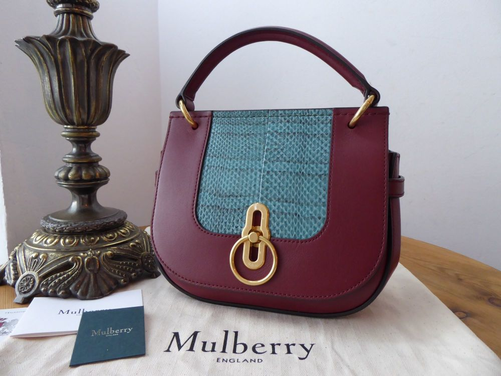 Mulberry Amberley Small Satchel in Nordic Blue Ayers & Crimson Silky Calf -