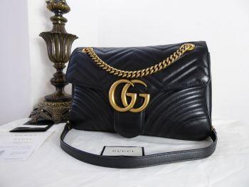 Gucci GG Marmont Medium Shoulder Bag in Black Matelassé Calfskin