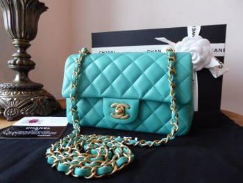Chanel Classic Mini Rectangular Flap in Aqua Lambskin with Brushed Gold Hardware  - New*