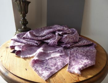 Mulberry Inky Printed Reversible Wrap Scarf in Lilac Stone 100% Silk Twill