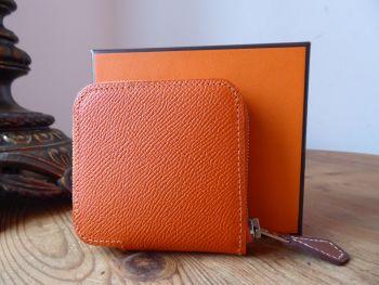 Hermés Silk'in Zip Around Change Coin Purse in Orange Epsom