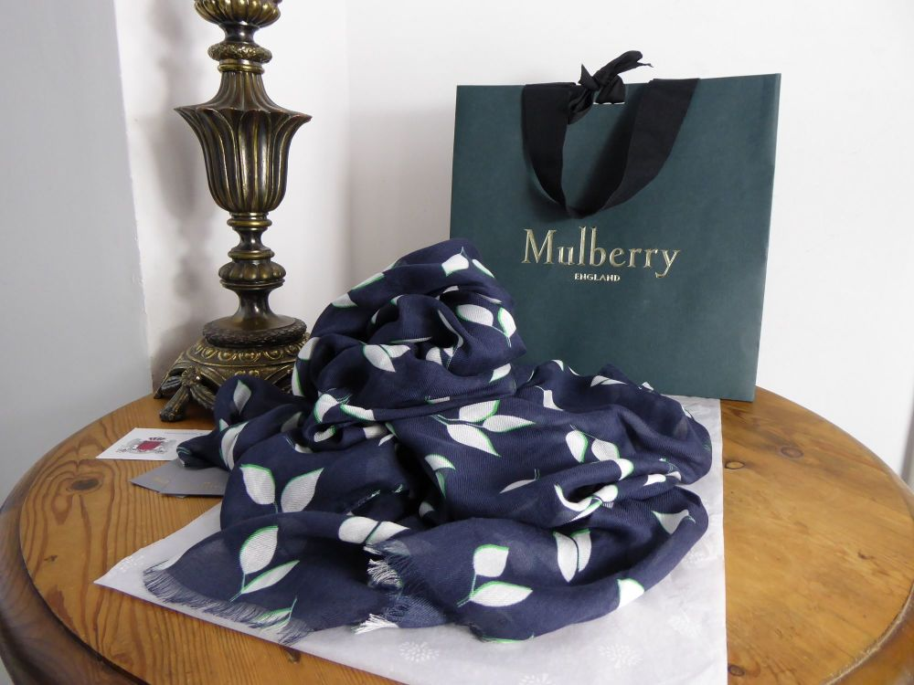 Mulberry Spring Leaves Wrap Scarf in Midnight Blue Modal Cashmere Blend