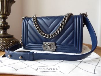 Chanel Old Medium Boy in Chevron Quilted Navy Caviar with Ruthenium Hardware - As New*