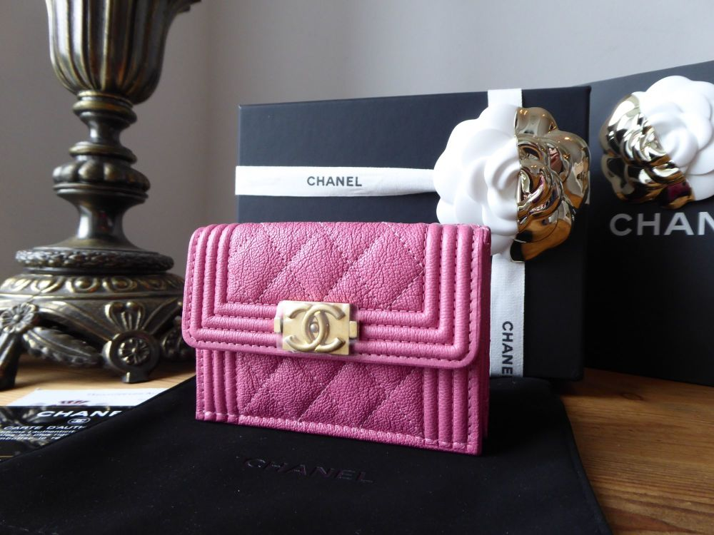 Chanel Boy Small Flap Wallet in Peony Pink Grained Calfskin with Brushed Go