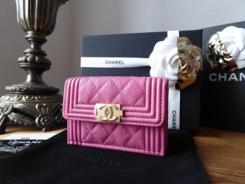 Chanel Boy Small Flap Wallet in Peony Pink Grained Calfskin with Brushed Gold Hardware - New