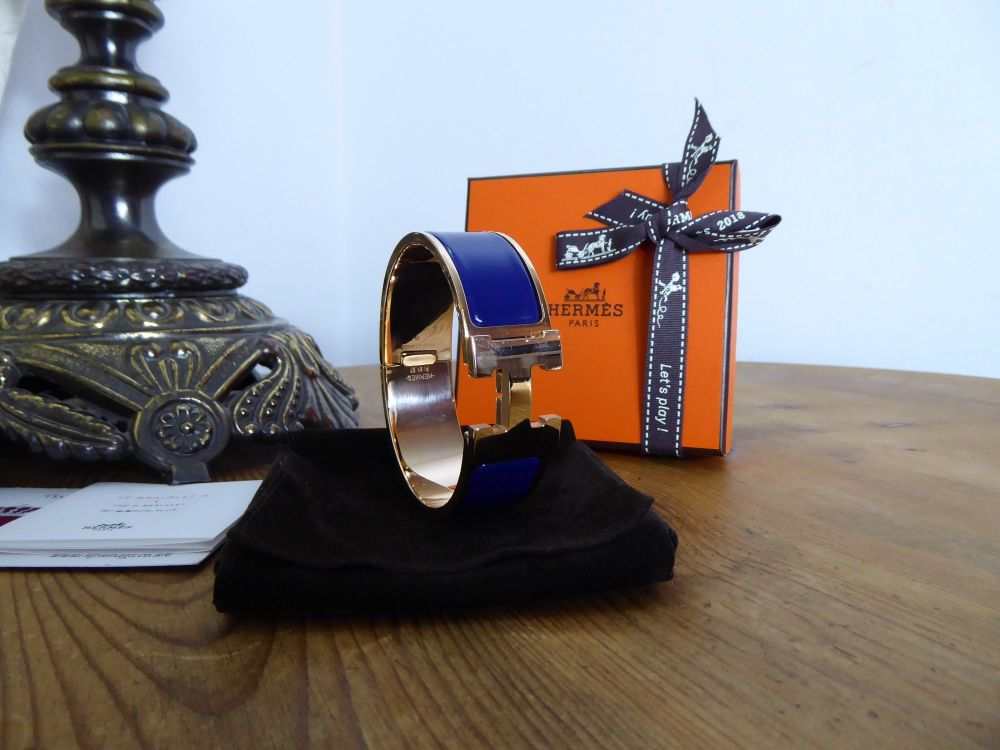 Hermés Clic Clac H Wide Cuff Bracelet GM in Rose Gold with Bleu Impérial En