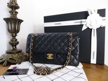 Chanel Classic Medium Double Flap in Black Caviar Leather with Shiny Gold Hardware