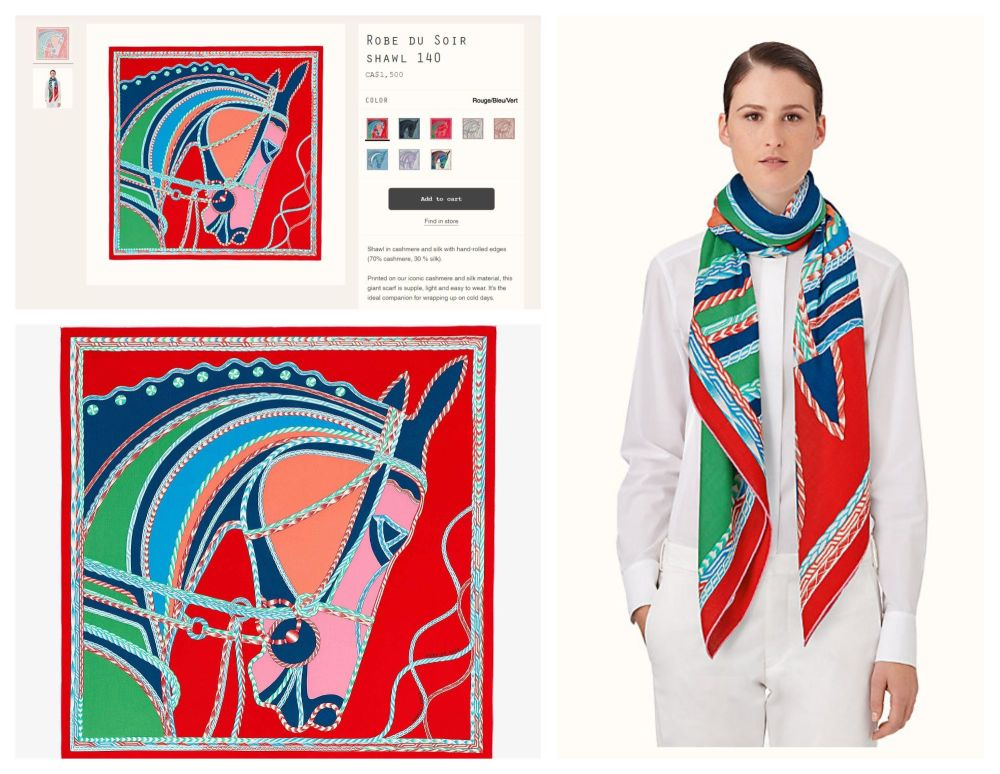 Hermés Chale Shawl Scarf 'Robe du Soir' in Rouge/Bleu/Vert Cashmere Silk