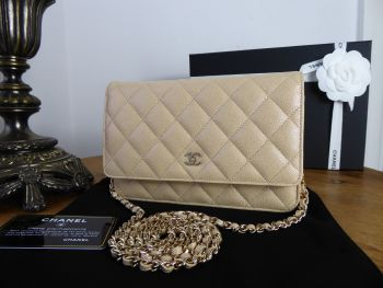 Chanel Classic Wallet on Chain WOC in Iridescent Beige Caviar with Gold Hardware - New