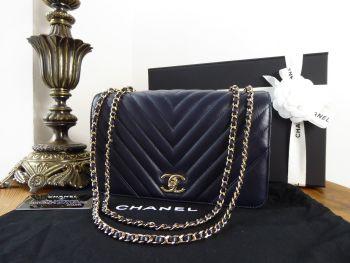 Chanel Chevron Statement Medium Flap in Navy Calfskin with Gold Hardware - New