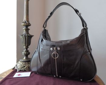 Mulberry Poppy Hoboin Chocolate Lightweight Antiqued Leather - As New