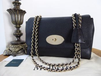 Mulberry Medium Lily in Black Glossy Goat with Shiny Gold Hardware