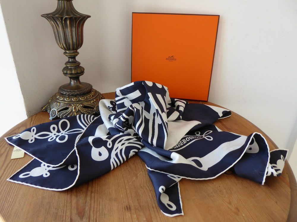 Hermès Limited Edition Brandebourgs Square Silk Scarf in Marine Blanc Tato