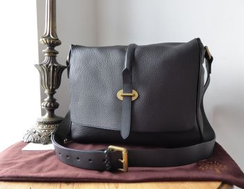 Mulberry Toby Large Messenger in Black Heavy Grain Leather