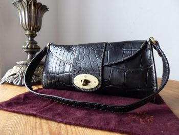 Mulberry Vintage Zinia Baguette Bag in Black Printed Leather