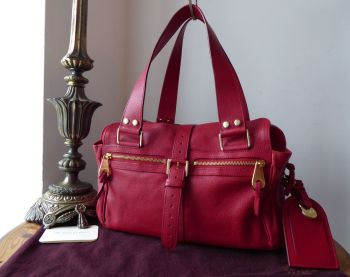 Mulberry Medium Mabel in Red Soft Goatskin with Gold Hardware