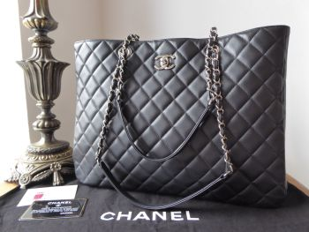 Chanel Grand Soft Shopper Tote in Black Quilted Calfskin with Shiny Silver Hardware