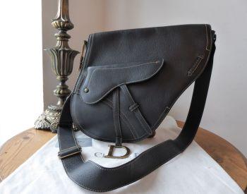 Dior Large Vintage Saddle Bag Messenger in Black Calfskin with Antiqued Gold Hardware