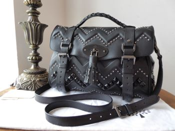 Mulberry Zig Zag Rivets Regular Alexa Stachel in Black Smooth Touch Leather