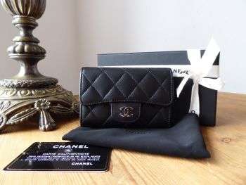 Chanel Classic Flap Card Holder Wallet in Black Lambskin with Silver Hardware
