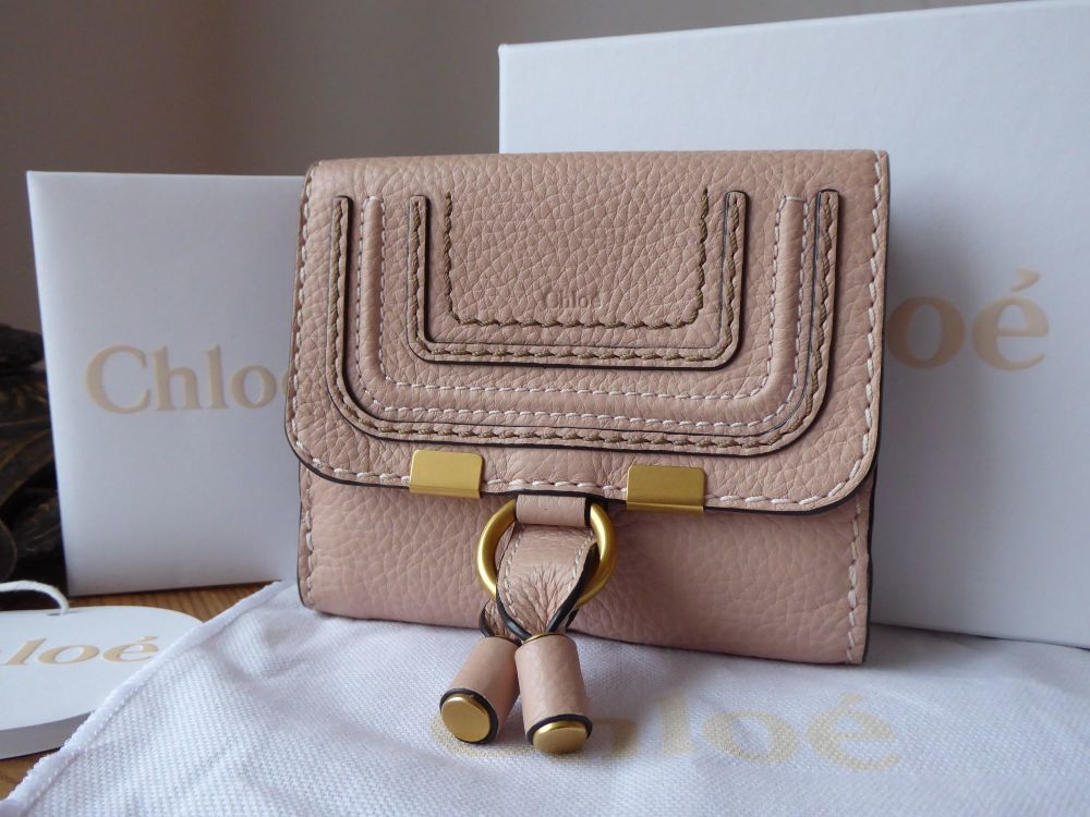 Chloe Marcie Compact Square Wallet Purse in Blush Nude Grained Calfskin
