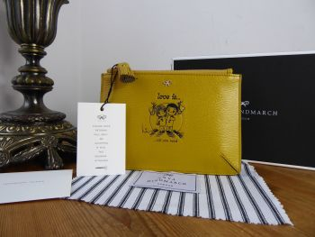 Anya Hindmarch 'Love Is' Small Zip Pouch in Mustard Capra Goatskin - New