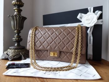 Chanel 226 Reissue Mademoiselle Flap Bag in Taupe Distressed Calfskin with Antiqued Gold Hardware