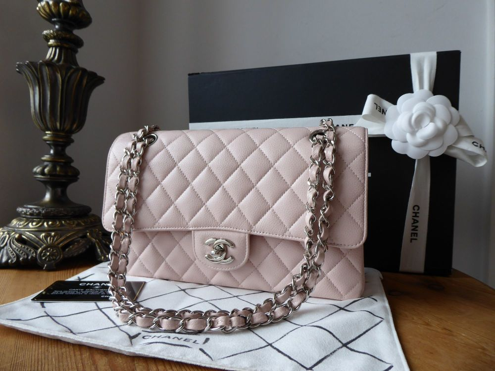 Chanel Classic 2.55 Medium Flap in Pale Pink Caviar with Shiny Silver Hardw