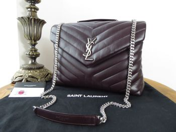 Saint Laurent YSL Loulou Medium in Black Tulip Chevron Quilted Matelasse Calfskin