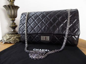 Chanel Reissue 227 Flap in Distressed Vernice Black Calfskin with Dark Shiny Silver Hardware
