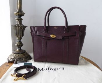 Mulberry Small Zipped Bayswater in Oxblood Grained Vegetable Tanned Leather