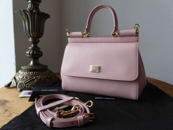 Dolce & Gabanna Mini Sicily in Vitello Stampa Dauphine Rosa Pink Carne - As New